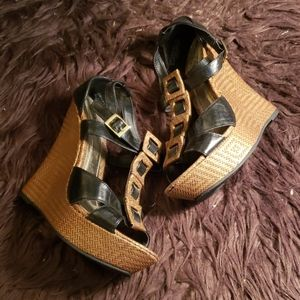 Bamboo Black /Brown Wedges